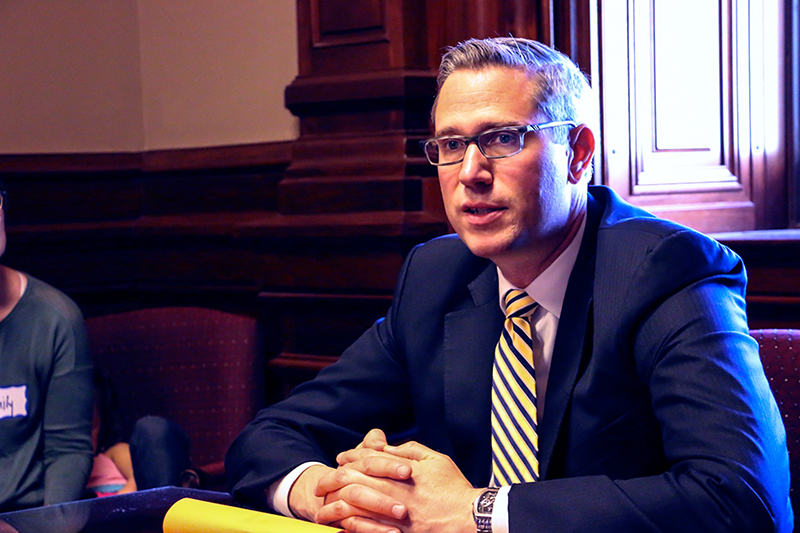 Illinois State Treasurer Michael Frerichs in office meeting