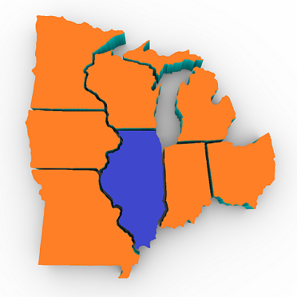 Picture of State of Illinois within Midwest Region.