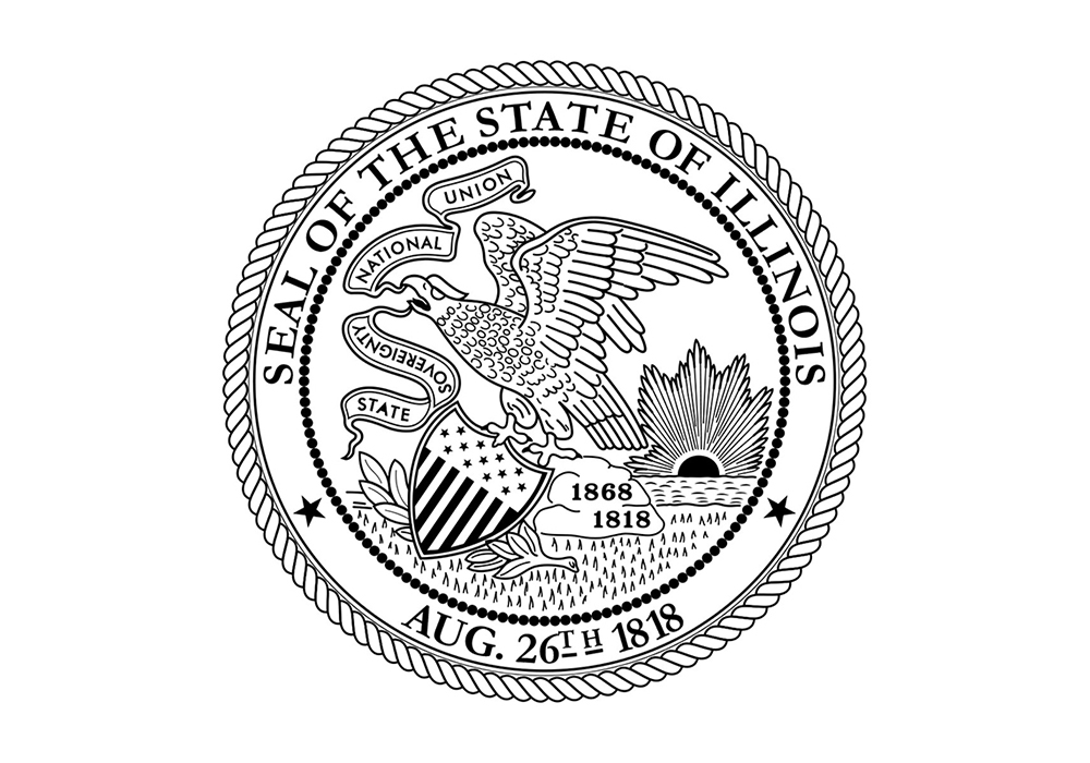 Illinois State Seal in black and white