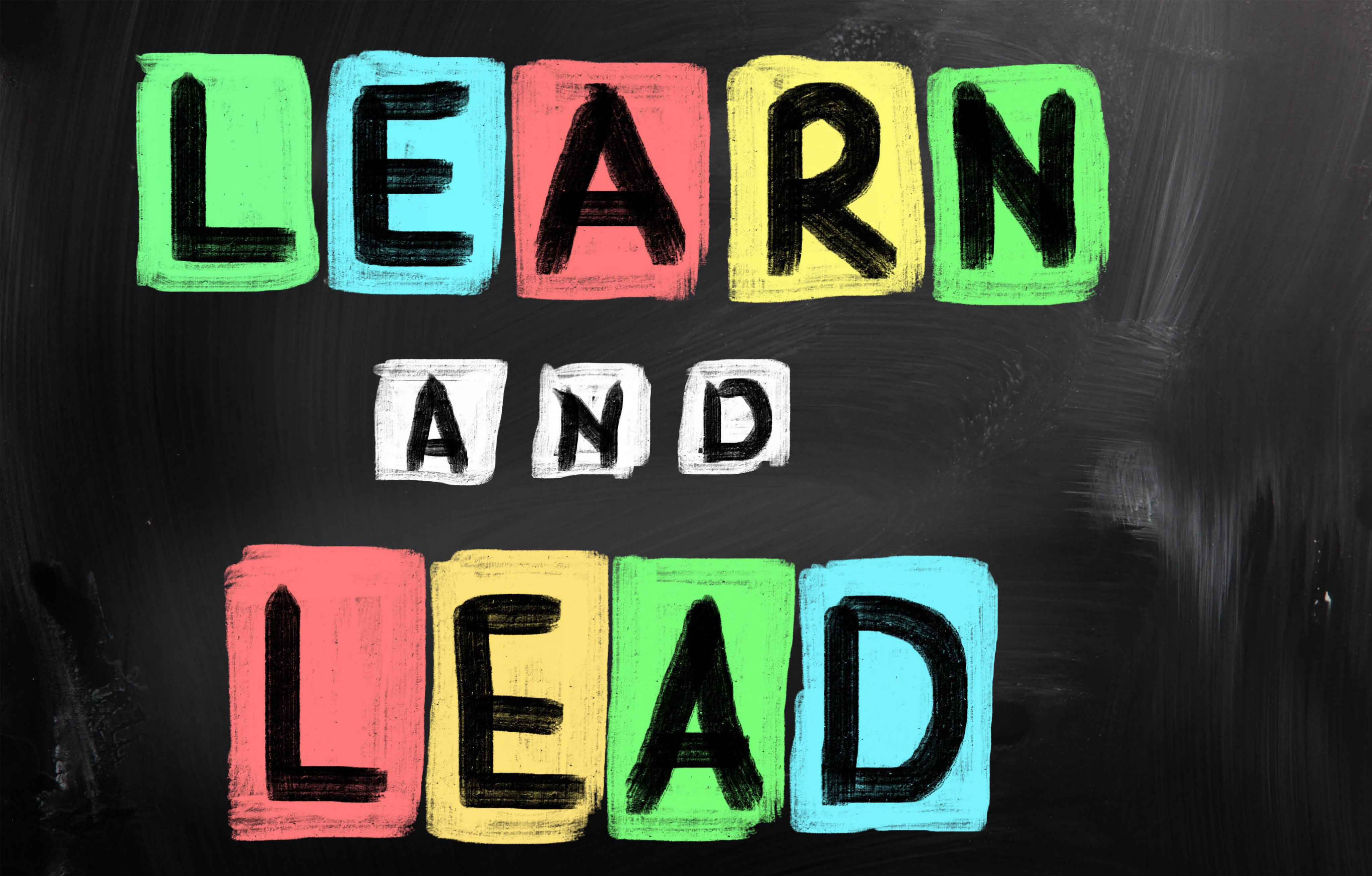 Learn and Lead on Chalkboard