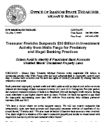 Treasurer's Press Release on Wells Fargo Violations